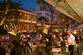 People sitting in an outdoor cafe in the evening, Archiepiskopou Makariou Street, nightlife, Lefkosia, Nicosia, South Cyprus, Cyprus