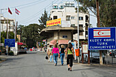 Four women at the Ledra Palace checkpoint, border, Green Line, United Nations Controlled Area, divided city, Lefkosia, Nicosia, Cyprus