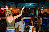Young people having fun in a disco, Lions Garden Discothek, Famagusta, Ammochostos, Gazimagusa, Cyprus