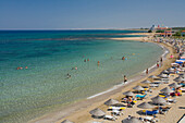 People on the beach, Salamis Beach, Mimoza Beach Hotel, Salamis, North Cyprus, Cyprus