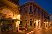 Shops in the Old Town at night, Agkyras Street, Lemesos, Limassol, South CyprusCyprus