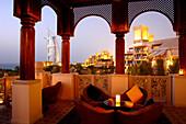 Al Qasr Hotel restaurant, Madinat Jumeirah with Burj al Arab in the background, Dubai, United Arab Emirates, UAE