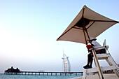 Lifeguard watching over beach, View at Burj al Arab Hotel, Dubai, United Arab Emirates, UAE