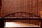Speicherstadt with bridge, warehouse district, storage area of the city, Hamburg, Germany