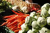 Fresh vegetables at the market, Marktplatz, Basel, Switzerland