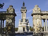Monument to Alfonso XII in Parque del Retiro, Madrid. Spain