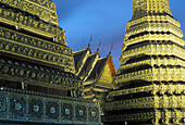 The chedis of the temple Wat Pho, Sanam Luang. Bangkok (Krung Thep), Thailand