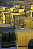 Canopied beach chairs, Binz, Mecklenburg Western Pomerania, Rügen (Ruegen) island, Germany
