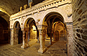 Romanesque gallery, made of pink marble. Interior of Serrabone priory, built 11th century. Pyrenees-Orientales. Languedoc Roussillon. France