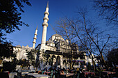 Open air tea shops by Yeni Mosque, Istanbul. Turkey