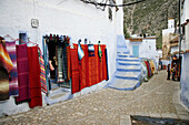 Typical street in Chefchaouen, Morocco.