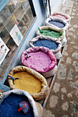 Dyes in a shop, Chefchaouen. Morocco