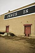 A sign on a warehouse in Saskatchewan, Canada.