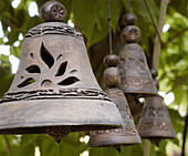 Aged, Bell, Bells, Close up, Close-up, Closeup, Color, Colour, Concept, Concepts, Daytime, Decoration, Exterior, Hang, Hanging, Metal, Object, Objects, Old, Outdoor, Outdoors, Outside, Selective focus, Sound, Sounds, Square, Thing, Things, Wrought iron,