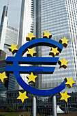 Euro sign and European Central Bank (ECB). Frankfurt am Main. Hessen. Germany