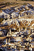 Aerial view of landscape with fairy chimney formations near Göreme, Cappadocia. Turkey.