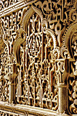 Detail of intricate interior of the Alhambra. Granada. Andalucia. Spain