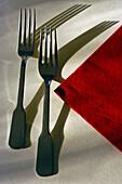 Forks and napkin set for a wedding reception. Moret-sur-Loing near Paris. France