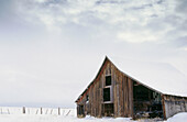 Old barn with snow in Northeast Oregon. Grant County, Oregon, USA