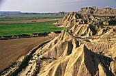 Barren landscape with contrasts. Bardena Blanca. Bardenas Reales. Navarre. Spain