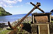 Admiral Dupetit Thouars monument. Tahuata Island. Vaitahu bay. The Marquesas archipelago. French Polynesia.