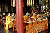 Monks prayer at great wild goose pagoda or Dayanta. Xi ian city. Shaanxi province. China.