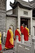 Monks prayer at great wild goose pagoda or Dayanta. Xi ian city. Shaanxi province. China.