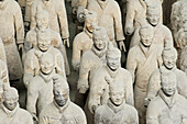 The terracotta army, distributed over three large underground platforms and guarding the first emperor Qin Shi Huangdi s tomb. It lies 23Km south of Xi an at the foot of Mount Lisban in the county of Lintong. Xi an city area. Shaanxi province. China.