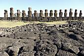 Moais at Ahu Tongariki. Easter Island. Chile