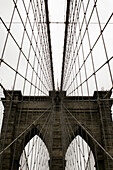 America, Arch, Arches, Architecture, Bridge, Bridges, Brooklyn Bridge, Cable, Cables, Cities, City, Color, Colour, Daytime, Exterior, Landmark, Landmarks, Mid-Atlantic USA, New York, New York City, North America, Northeast USA, NY, NYC, Outdoor, Outdoors