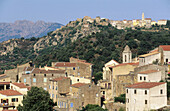 View of the towns of Cassano and Montemaggiore. Balagne region. Corsica Island. France