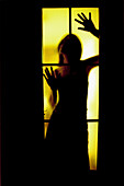 Adult, Adults, Anonymous, Attracting attention, Back-light, Backlight, Caught, Closed, Color, Colour, Contemporary, Craziness, Crazy, Deranged, Derangement, Disturbing, Door, Doors, Dread, Fear, Female, Glass, Horror, Human, Indoor, Indoors, Inside, Inte