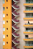Apartment, Apartments, Architecture, Block, Blocks, Building, Buildings, Cities, City, Color, Colour, Concept, Concepts, Daytime, Detail, Details, Exterior, Facade, Façade, Facades, Façades, Fire escape, Flat, Flats, Geometry, Orange, Outdoor, Outdoors,