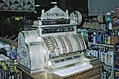 Old cash register. Fossil General Mercantile. Fossil. Oregon. USA.