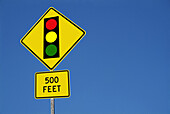 Stop signal 500 feet ahead sign