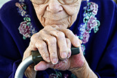 The ageing hands of a senior female
