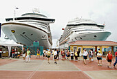 The cruise ship Carnival Fantasy visits the island of St. Maarten (St Martin) in the carribbean West Indies