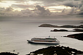 The cruise ship Carnival Fantasy from Port Canaveral visits the caribbean Island of St. Thomas in the West Indies and the US Virgin Islands with cruise ships at port