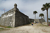 Canons at the National Park Service the fort Castillo de San Marcos in St Augustine Florida Fl