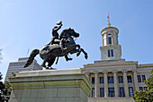 Statue of Andrew Jackson at State Capitol and Surrounding Statues and Monuments Nashville Tennessee. USA.