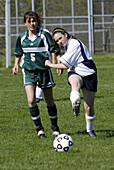 Girls high school soccer action