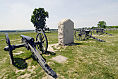 Cannons on the at Battlefield at the Gettysburg National Battlefield Park and Cemetary Pennsylvania PA