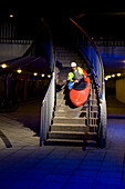 Man kayaking on staircase, Linz, Upper Austria, Austria