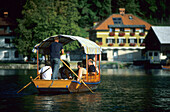 Gondola on Lake Bled, Julien Alps, Slovenia