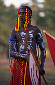 Aboriginal man painted in traditional ways at the Garma Festival in Arnhem Land