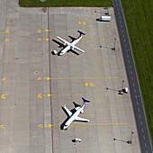 Aerial shots of airplanes on airfield, Hanover/Langenhagen International Airpor, Hanover, Lower Saxony, Germany