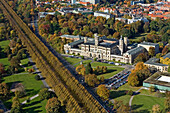 aerial view of Hanover's university now called Leibniz University in the former Welfen Palace, avenue of Linden trees in Georgengarten, Herrenhausen, Hanover, Lower Saxony, northern Germany