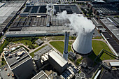 aerial view of Stocken and Volkswagen plant, power plant, Midland Canal, near Hanover, Lower Saxony