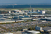aerial view of thousands of VW vans, at the 60 years of the VW bus on the trade fair grounds in Hanover Laatzen in October 2007, Hanover, Lower Saxony, northern Germany