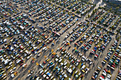 Aerial shot of parking lot at Hanover fairground, Hanover, Lower Saxony, Germany